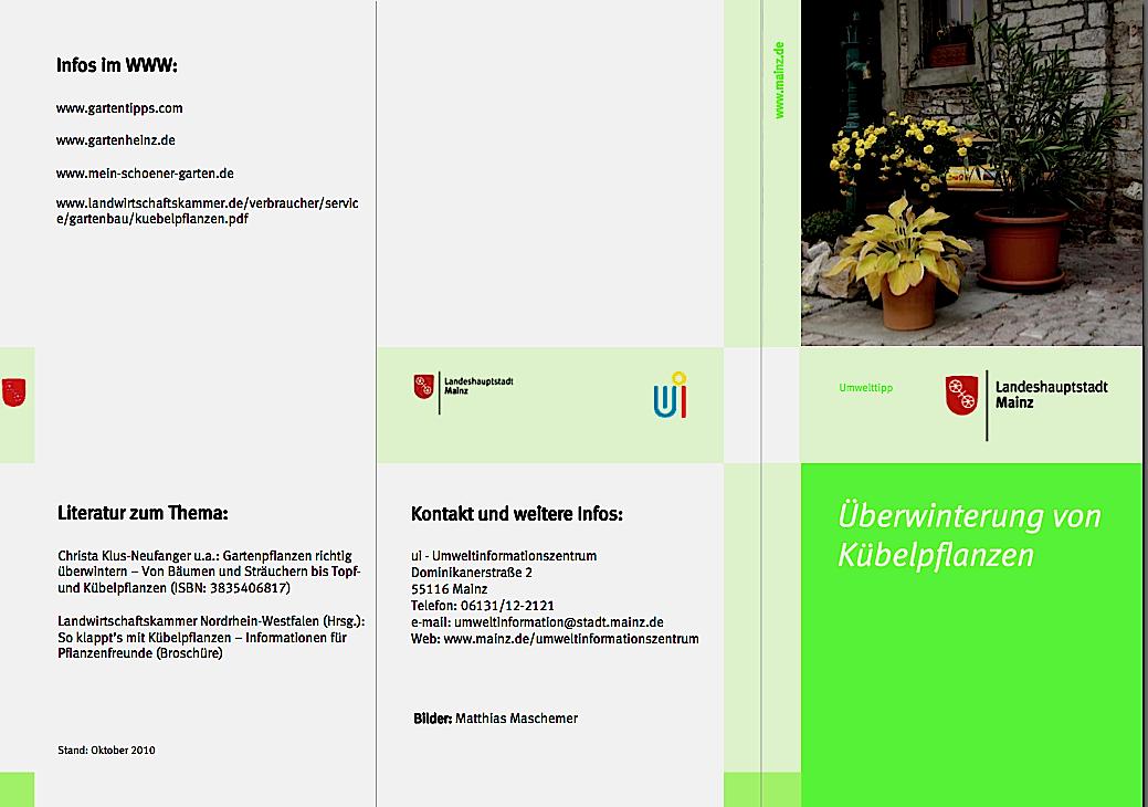Stad Mainz, Umwelttipp, Überwinterung Kübelpflanzen